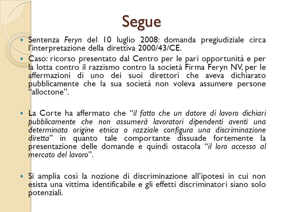 Segue Sentenza Feryn del 10 luglio 2008: domanda pregiudiziale circa l'interpretazione della direttiva 2000/43/CE. Caso: ricorso presentato dal Centro