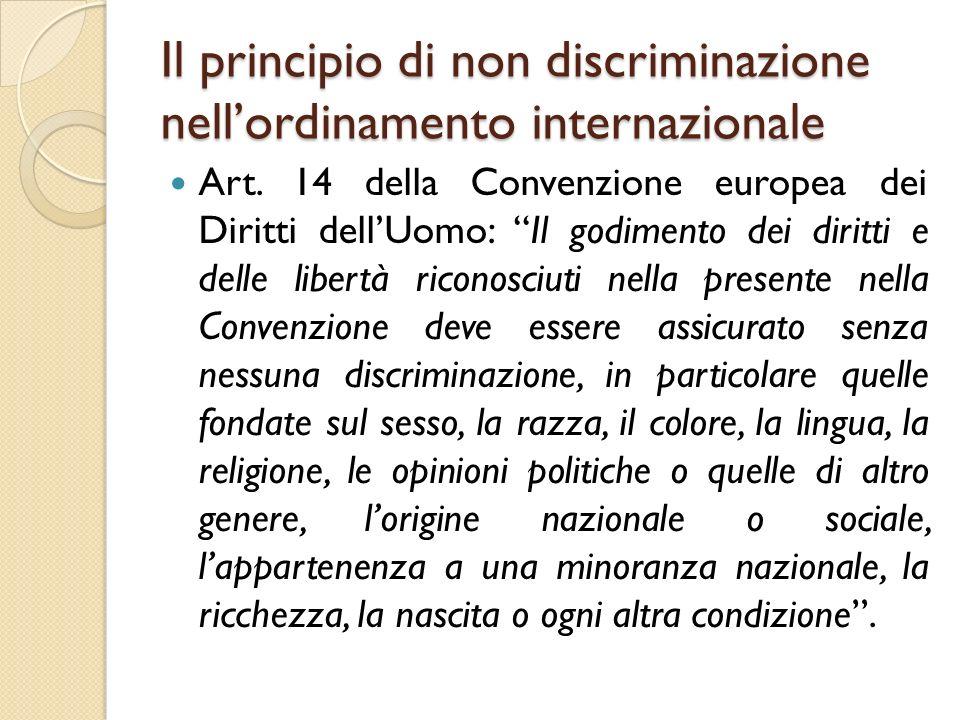 """Il principio di non discriminazione nell'ordinamento internazionale Art. 14 della Convenzione europea dei Diritti dell'Uomo: """"Il godimento dei diritti"""