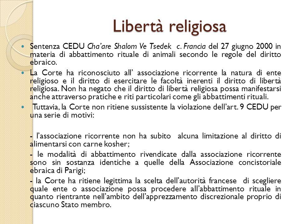 Libertà religiosa Sentenza CEDU Cha'are Shalom Ve Tsedek c. Francia del 27 giugno 2000 in materia di abbattimento rituale di animali secondo le regole