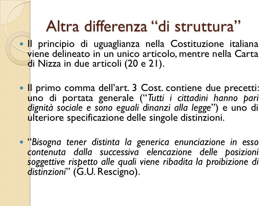Altra differenza di struttura Il principio di uguaglianza nella Costituzione italiana viene delineato in un unico articolo, mentre nella Carta di Nizza in due articoli (20 e 21).