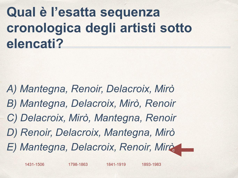 Qual è l'esatta sequenza cronologica degli artisti sotto elencati? A) Mantegna, Renoir, Delacroix, Mirò B) Mantegna, Delacroix, Mirò, Renoir C) Delacr