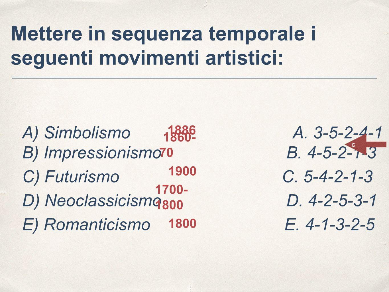 A) Simbolismo A. 3-5-2-4-1 B) Impressionismo B. 4-5-2-1-3 C) Futurismo C. 5-4-2-1-3 D) Neoclassicismo D. 4-2-5-3-1 E) Romanticismo E. 4-1-3-2-5 Metter