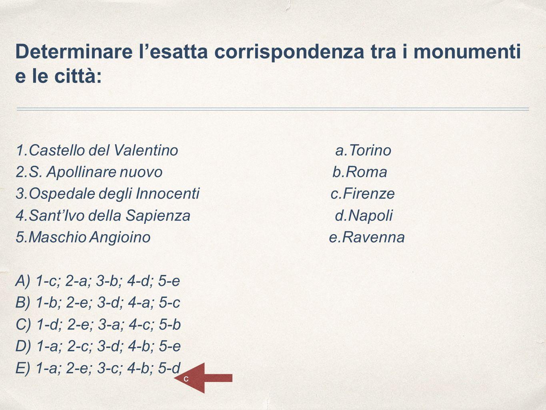 Determinare l'esatta corrispondenza tra i monumenti e le città: 1.Castello del Valentino a.Torino 2.S. Apollinare nuovo b.Roma 3.Ospedale degli Innoce