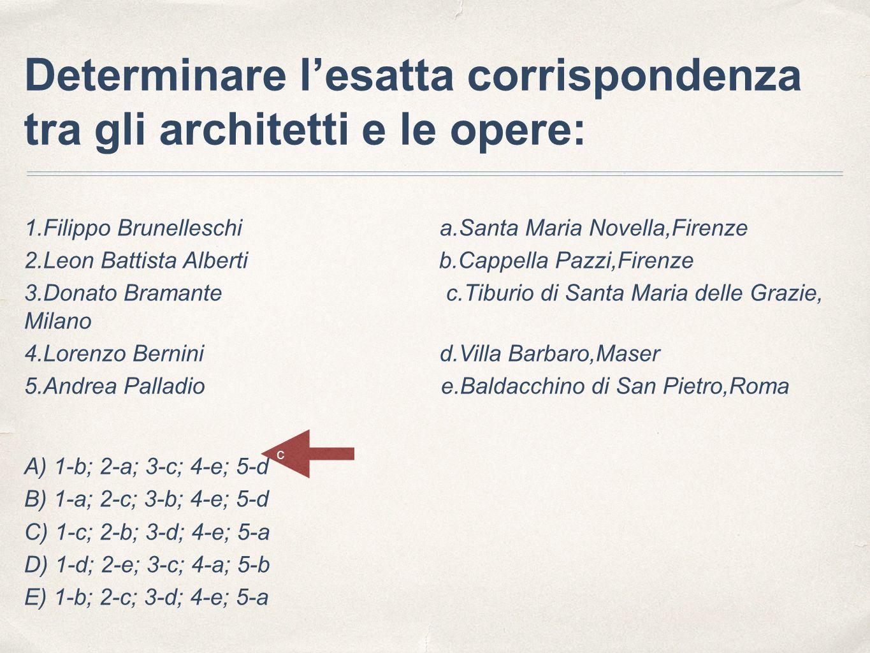 Determinare l'esatta corrispondenza tra gli architetti e le opere: 1.Filippo Brunelleschi a.Santa Maria Novella,Firenze 2.Leon Battista Alberti b.Capp