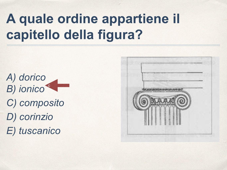 A quale ordine appartiene il capitello della figura? A) dorico B) ionico C) composito D) corinzio E) tuscanico c