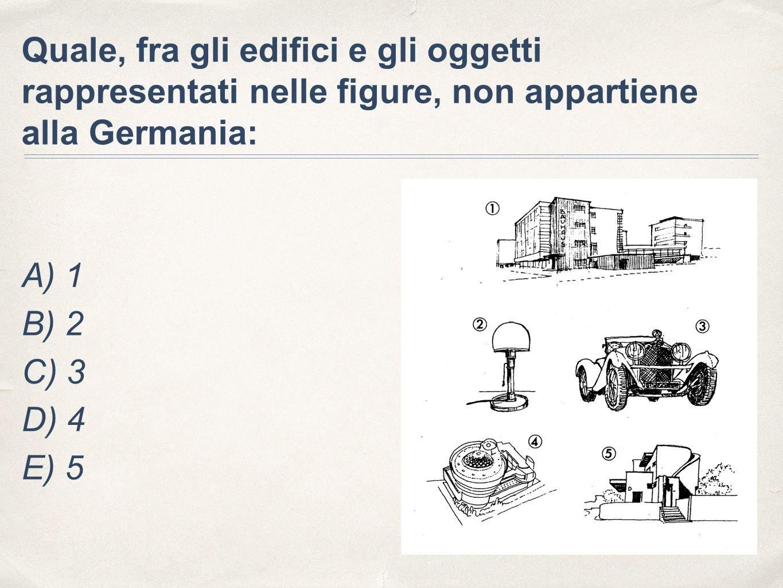 Quale, fra gli edifici e gli oggetti rappresentati nelle figure, non appartiene alla Germania: A) 1 B) 2 C) 3 D) 4 E) 5