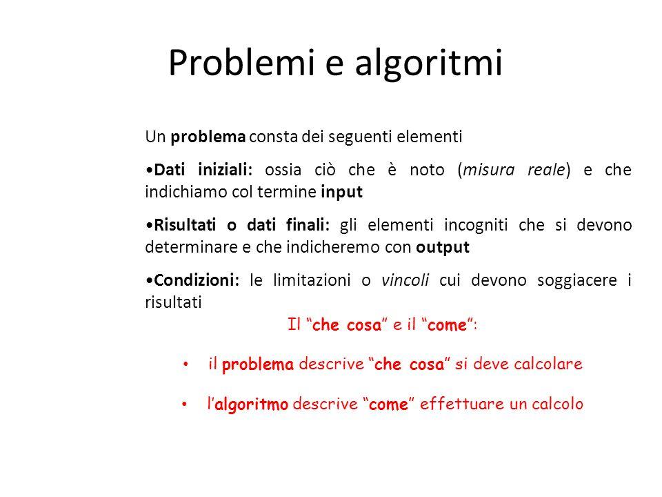 Problemi e algoritmi Un problema consta dei seguenti elementi Dati iniziali: ossia ciò che è noto (misura reale) e che indichiamo col termine input Ri
