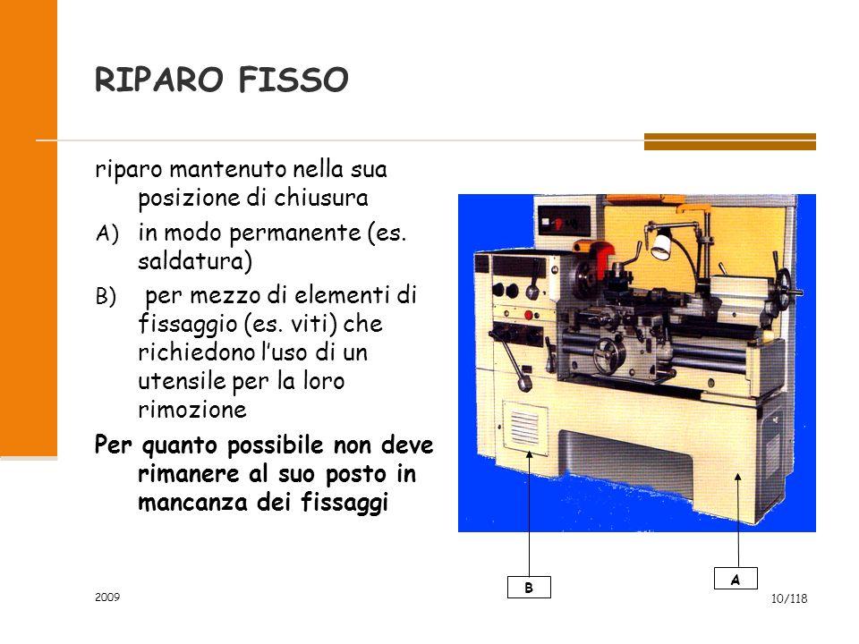 2009 10/118 RIPARO FISSO riparo mantenuto nella sua posizione di chiusura A) in modo permanente (es. saldatura) B) per mezzo di elementi di fissaggio