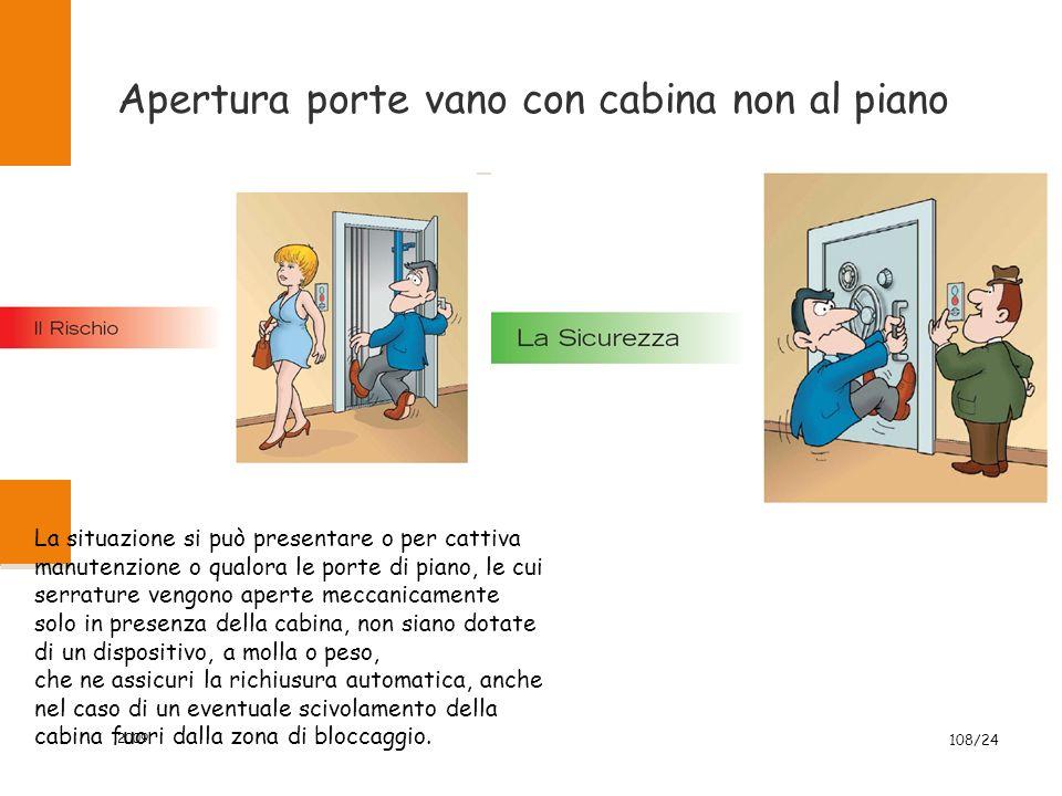 Apertura porte vano con cabina non al piano 2009 108/24 La situazione si può presentare o per cattiva manutenzione o qualora le porte di piano, le cui