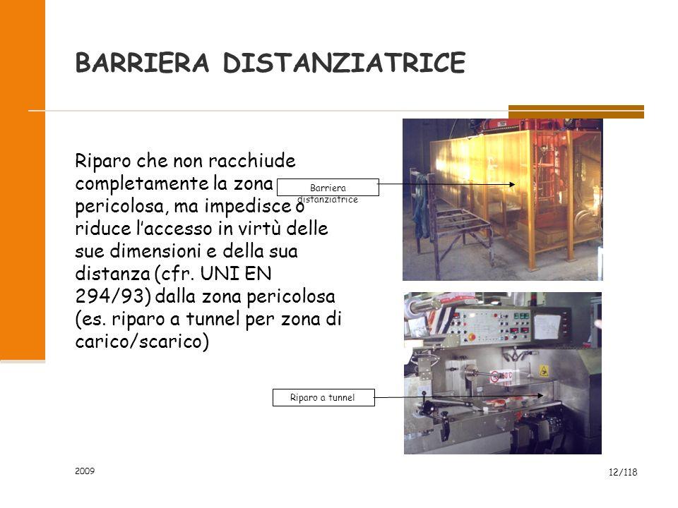 2009 12/118 BARRIERA DISTANZIATRICE Riparo che non racchiude completamente la zona pericolosa, ma impedisce o riduce l'accesso in virtù delle sue dimensioni e della sua distanza (cfr.