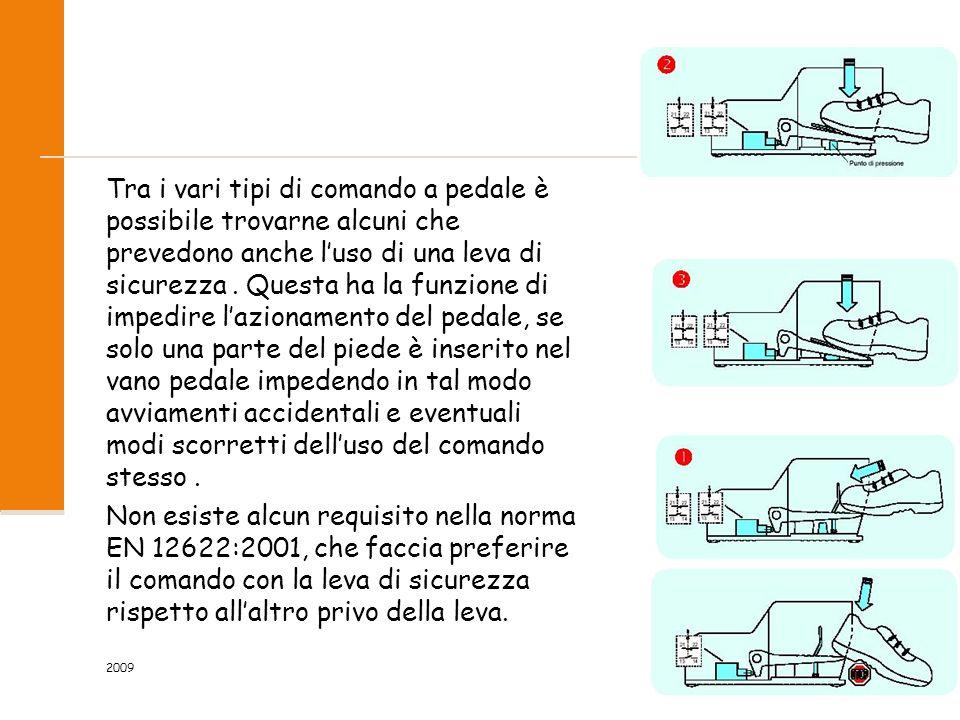 2009 19/118 Tra i vari tipi di comando a pedale è possibile trovarne alcuni che prevedono anche l'uso di una leva di sicurezza. Questa ha la funzione
