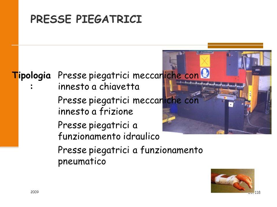 2009 26/118 PRESSE PIEGATRICI Tipologia : Presse piegatrici meccaniche con innesto a chiavetta Presse piegatrici meccaniche con innesto a frizione Presse piegatrici a funzionamento idraulico Presse piegatrici a funzionamento pneumatico