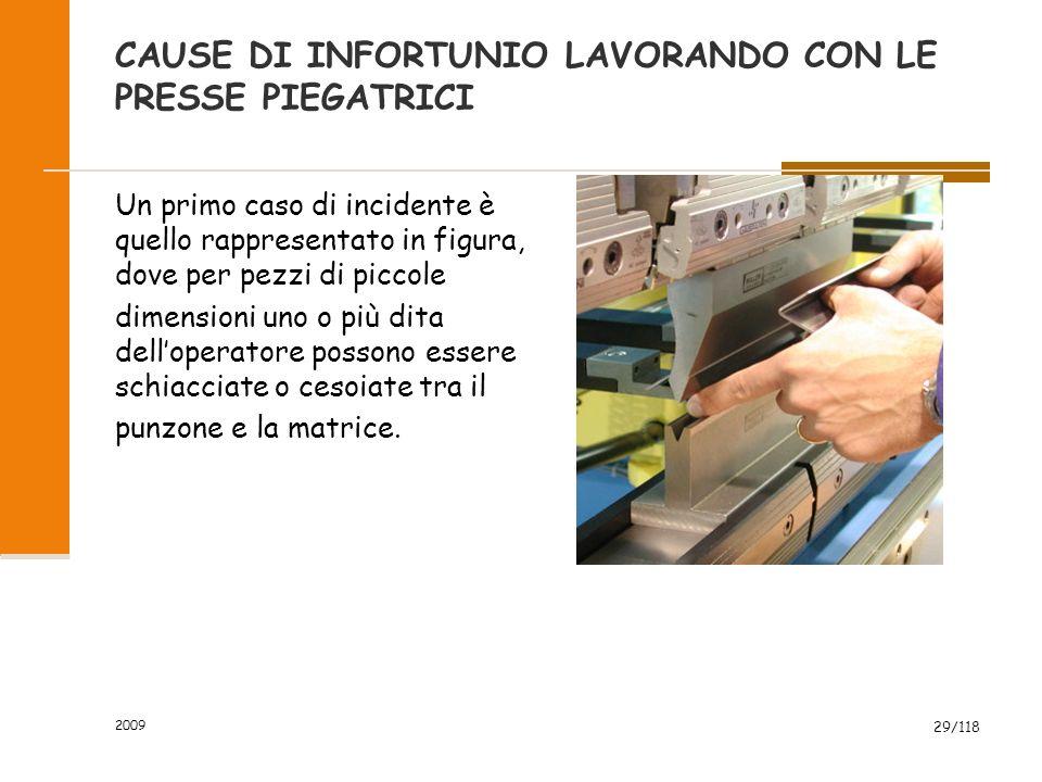2009 29/118 CAUSE DI INFORTUNIO LAVORANDO CON LE PRESSE PIEGATRICI Un primo caso di incidente è quello rappresentato in figura, dove per pezzi di picc