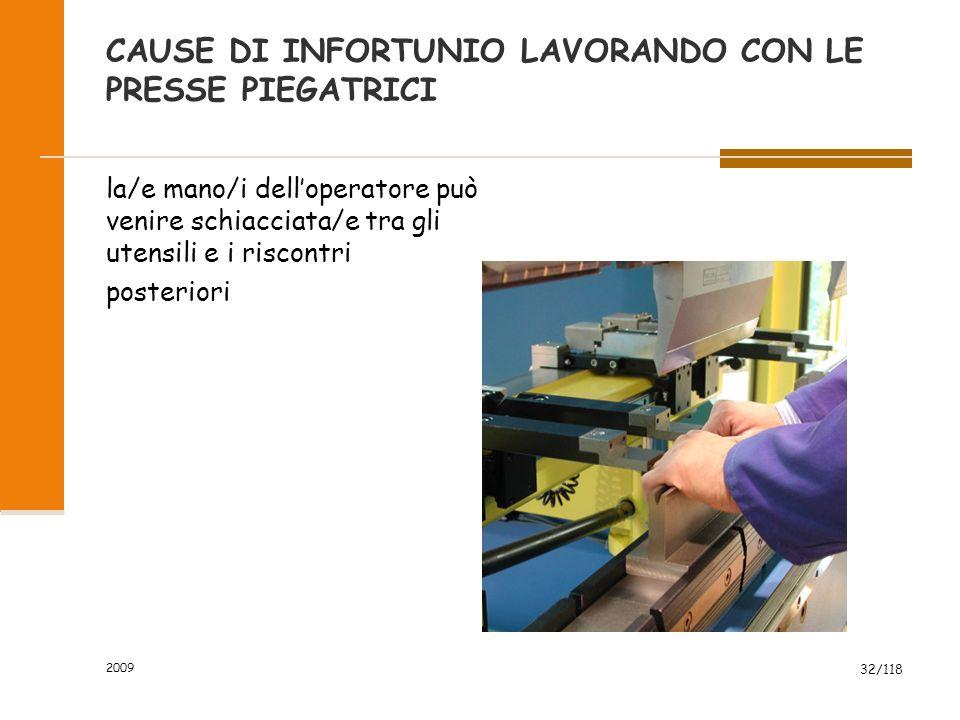 2009 32/118 CAUSE DI INFORTUNIO LAVORANDO CON LE PRESSE PIEGATRICI la/e mano/i dell'operatore può venire schiacciata/e tra gli utensili e i riscontri posteriori