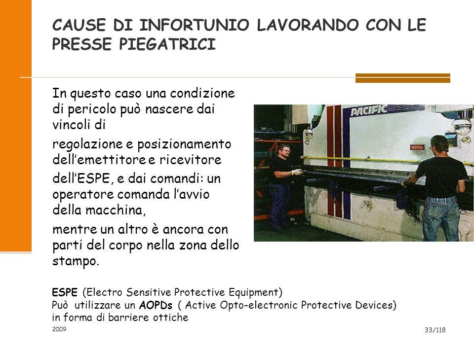 2009 33/118 CAUSE DI INFORTUNIO LAVORANDO CON LE PRESSE PIEGATRICI In questo caso una condizione di pericolo può nascere dai vincoli di regolazione e