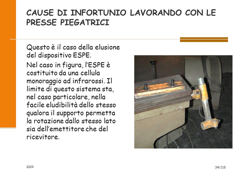 2009 34/118 CAUSE DI INFORTUNIO LAVORANDO CON LE PRESSE PIEGATRICI Questo è il caso della elusione del dispositivo ESPE.