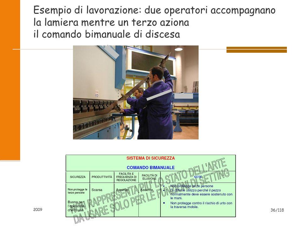 2009 36/118 Esempio di lavorazione: due operatori accompagnano la lamiera mentre un terzo aziona il comando bimanuale di discesa