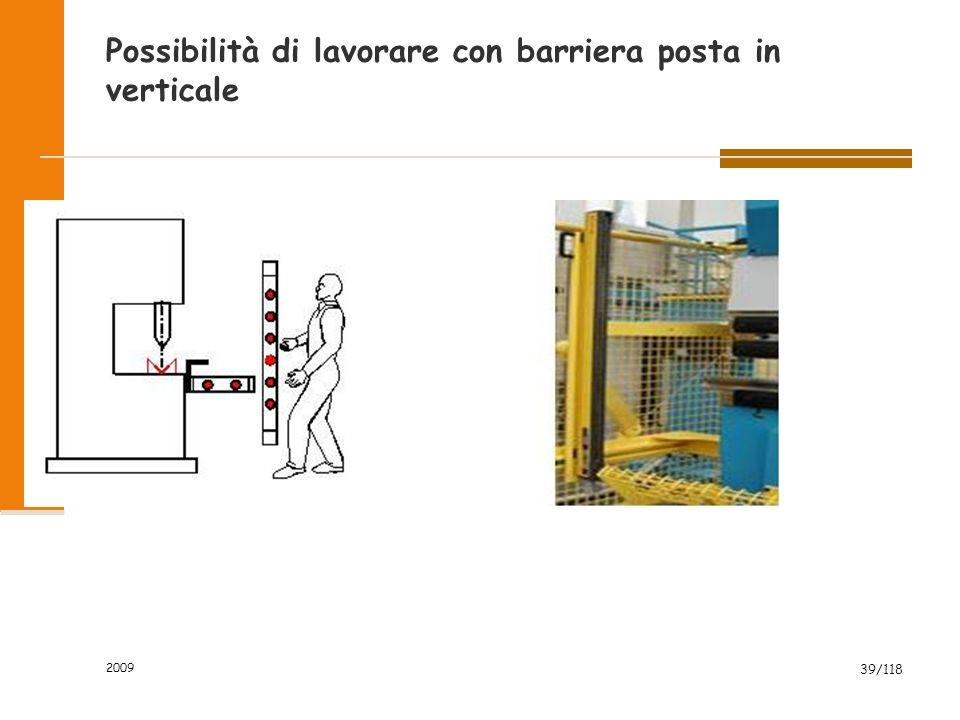 2009 39/118 Possibilità di lavorare con barriera posta in verticale