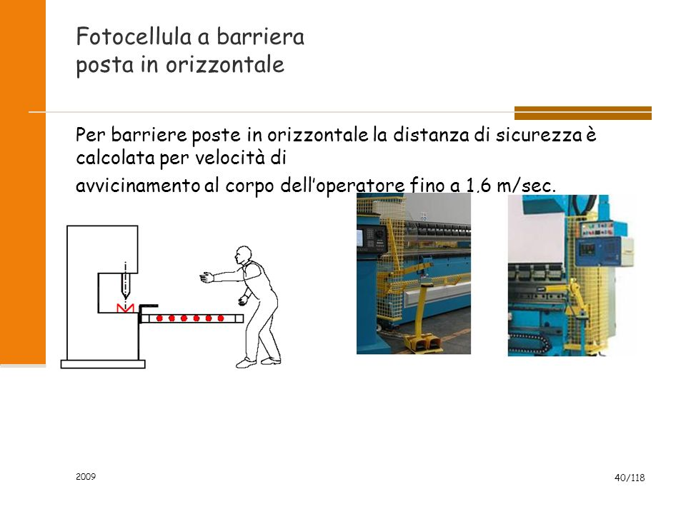 2009 40/118 Fotocellula a barriera posta in orizzontale Per barriere poste in orizzontale la distanza di sicurezza è calcolata per velocità di avvicin