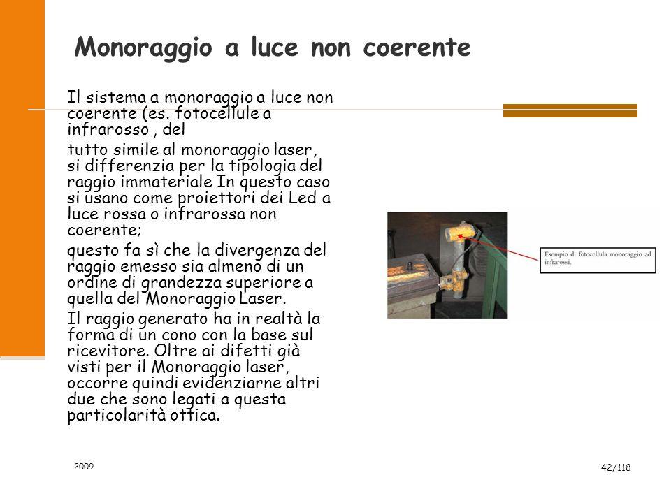 2009 42/118 Monoraggio a luce non coerente Il sistema a monoraggio a luce non coerente (es. fotocellule a infrarosso, del tutto simile al monoraggio l