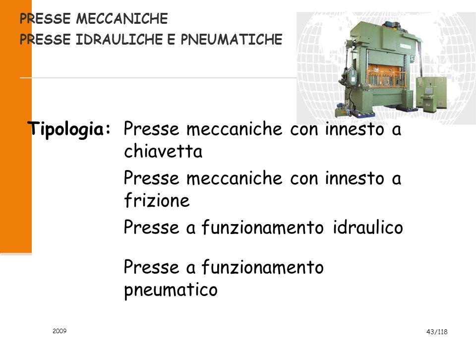 2009 43/118 PRESSE MECCANICHE PRESSE IDRAULICHE E PNEUMATICHE Tipologia:Presse meccaniche con innesto a chiavetta Presse meccaniche con innesto a frizione Presse a funzionamento idraulico Presse a funzionamento pneumatico