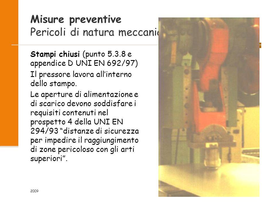 2009 45/118 Misure preventive Pericoli di natura meccanica Stampi chiusi (punto 5.3.8 e appendice D UNI EN 692/97) Il pressore lavora all'interno dello stampo.