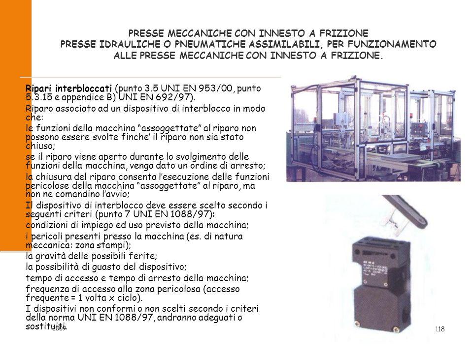 2009 49/118 PRESSE MECCANICHE CON INNESTO A FRIZIONE PRESSE IDRAULICHE O PNEUMATICHE ASSIMILABILI, PER FUNZIONAMENTO ALLE PRESSE MECCANICHE CON INNESTO A FRIZIONE.