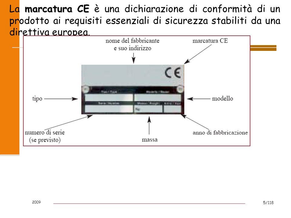 2009 5/118 marcatura CE La marcatura CE è una dichiarazione di conformità di un prodotto ai requisiti essenziali di sicurezza stabiliti da una diretti