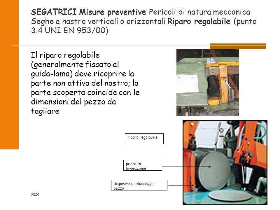 2009 53/118 SEGATRICI Misure preventive Pericoli di natura meccanica Seghe a nastro verticali o orizzontali Riparo regolabile (punto 3.4 UNI EN 953/00