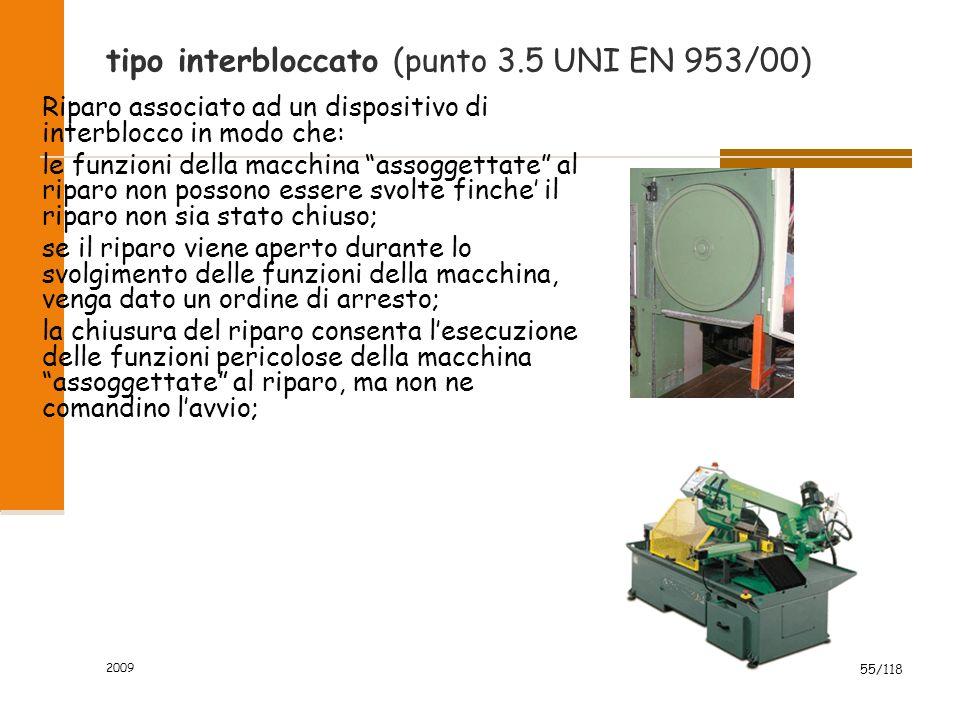"""2009 55/118 tipo interbloccato (punto 3.5 UNI EN 953/00) Riparo associato ad un dispositivo di interblocco in modo che: le funzioni della macchina """"as"""