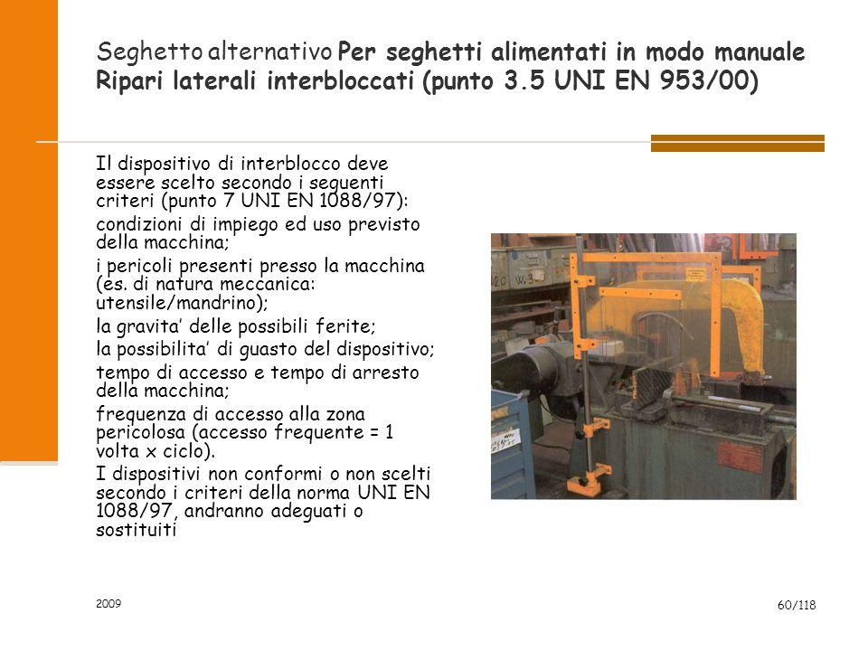 2009 60/118 Seghetto alternativo Per seghetti alimentati in modo manuale Ripari laterali interbloccati (punto 3.5 UNI EN 953/00) Il dispositivo di int
