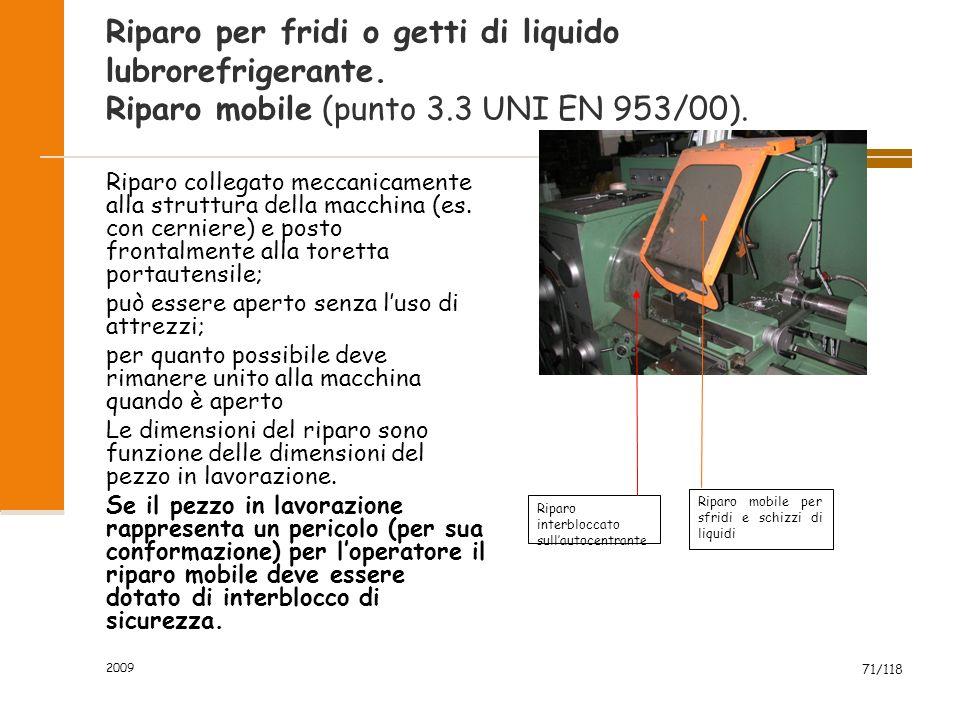 2009 71/118 Riparo per fridi o getti di liquido lubrorefrigerante. Riparo mobile (punto 3.3 UNI EN 953/00). Riparo collegato meccanicamente alla strut