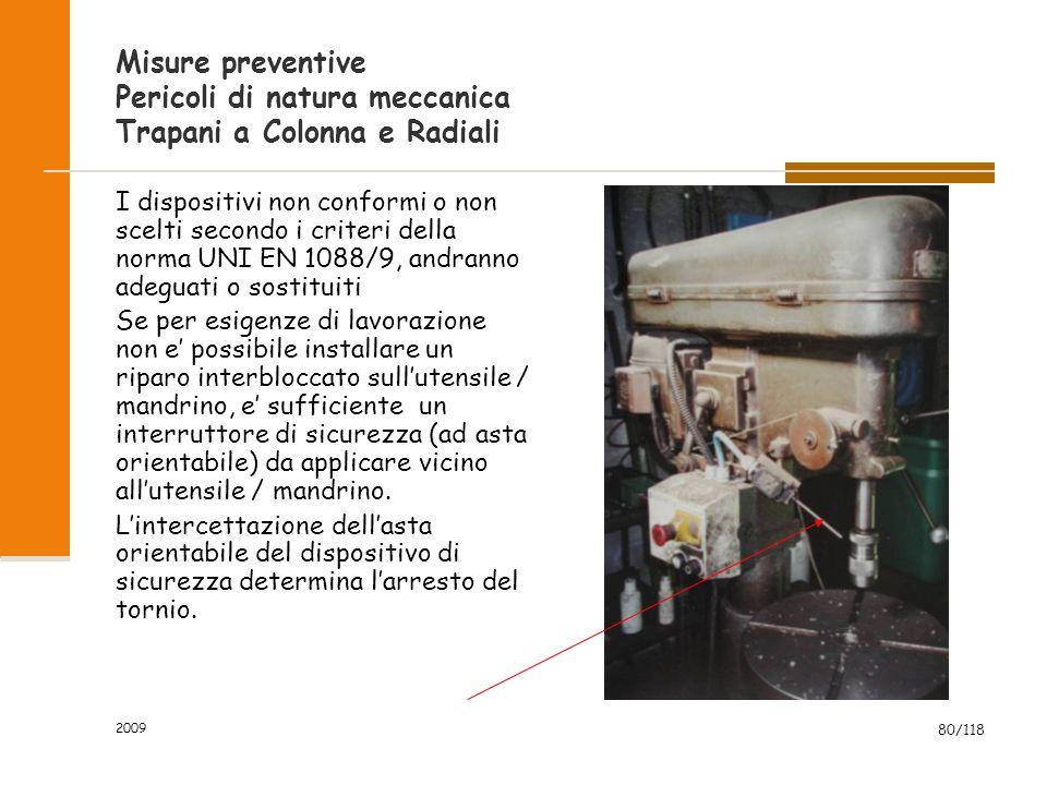 2009 80/118 Misure preventive Pericoli di natura meccanica Trapani a Colonna e Radiali I dispositivi non conformi o non scelti secondo i criteri della