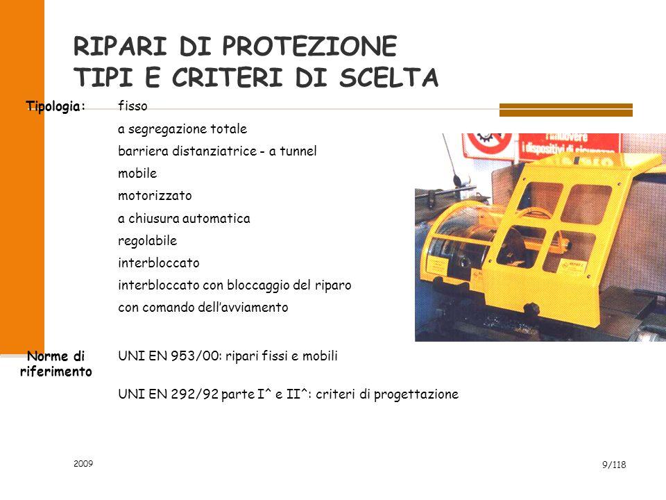2009 9/118 RIPARI DI PROTEZIONE TIPI E CRITERI DI SCELTA Tipologia:fisso a segregazione totale barriera distanziatrice - a tunnel mobile motorizzato a