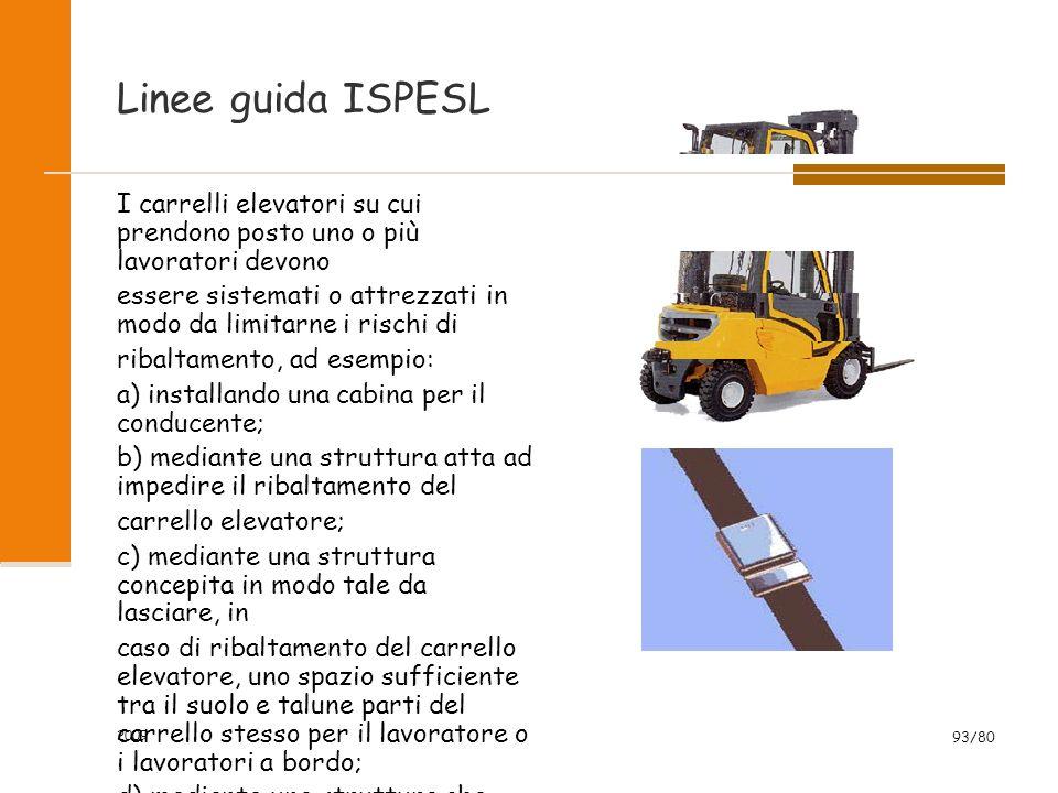 Linee guida ISPESL I carrelli elevatori su cui prendono posto uno o più lavoratori devono essere sistemati o attrezzati in modo da limitarne i rischi