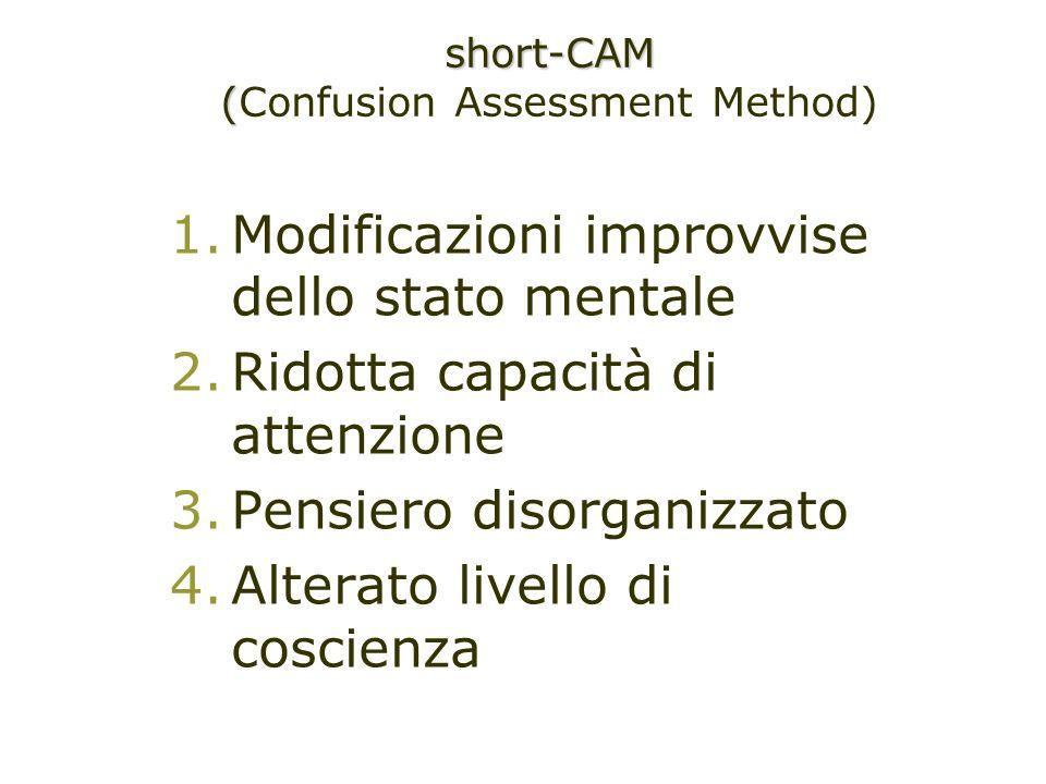 1.Modificazioni improvvise dello stato mentale 2.Ridotta capacità di attenzione 3.Pensiero disorganizzato 4.Alterato livello di coscienza short-CAM (