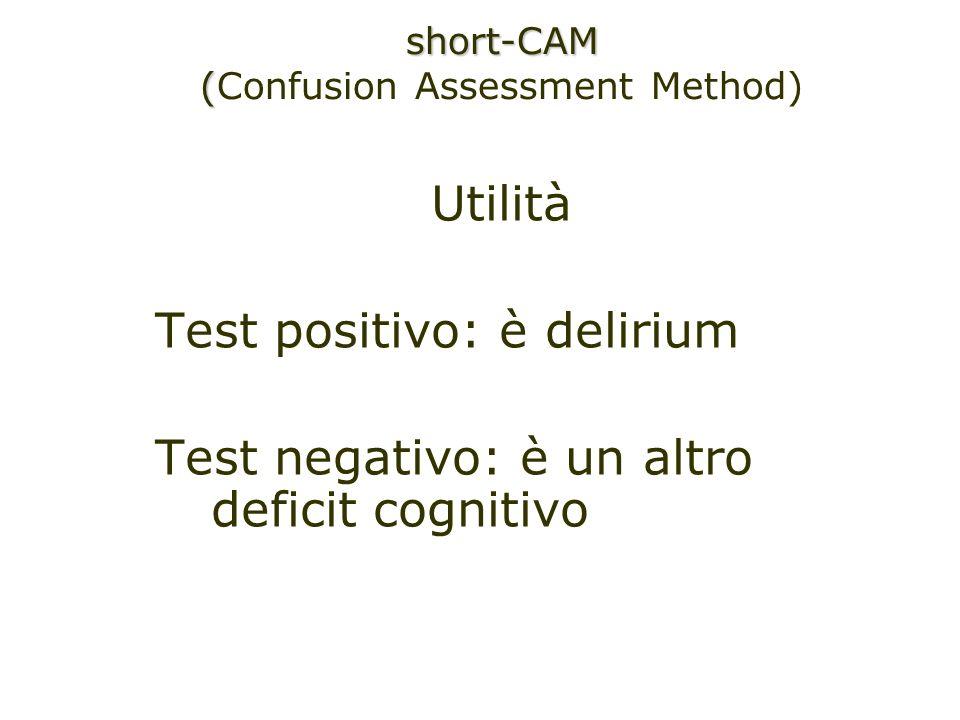 Utilità Test positivo: è delirium Test negativo: è un altro deficit cognitivo short-CAM ( (Confusion Assessment Method)
