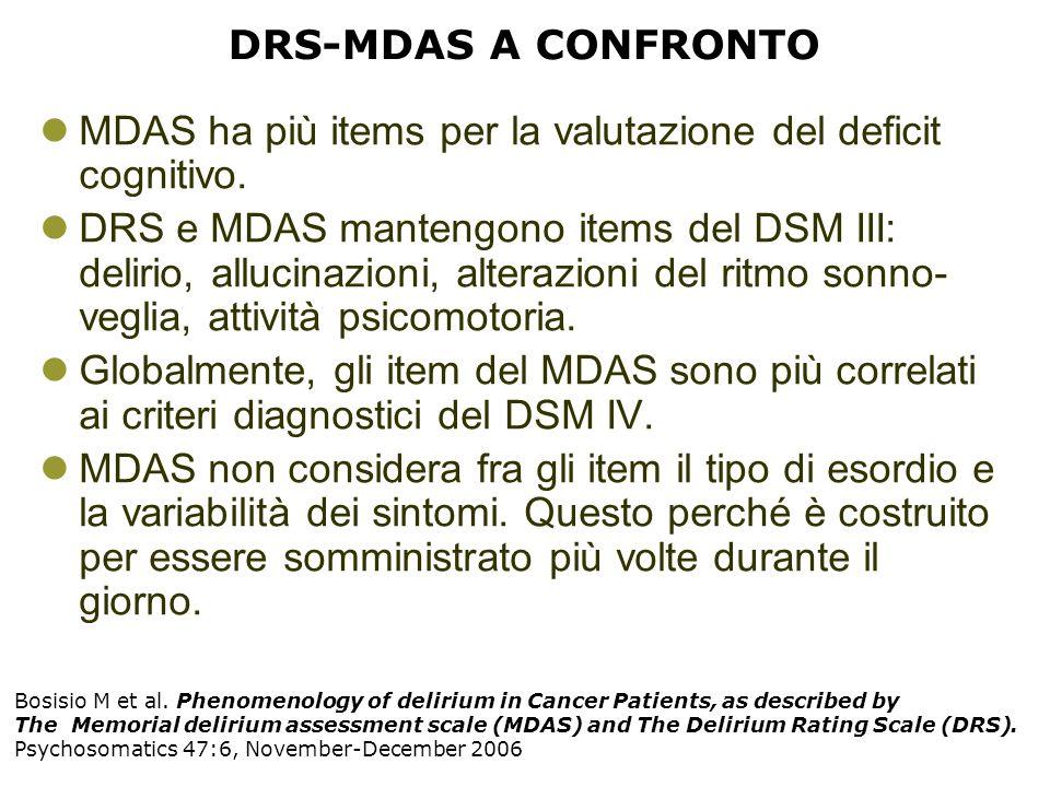 DRS-MDAS A CONFRONTO MDAS ha più items per la valutazione del deficit cognitivo. DRS e MDAS mantengono items del DSM III: delirio, allucinazioni, alte