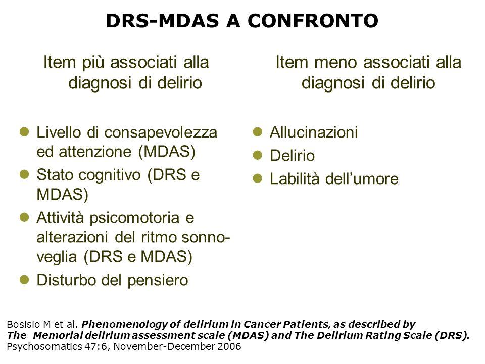 DRS-MDAS A CONFRONTO Item più associati alla diagnosi di delirio Livello di consapevolezza ed attenzione (MDAS) Stato cognitivo (DRS e MDAS) Attività