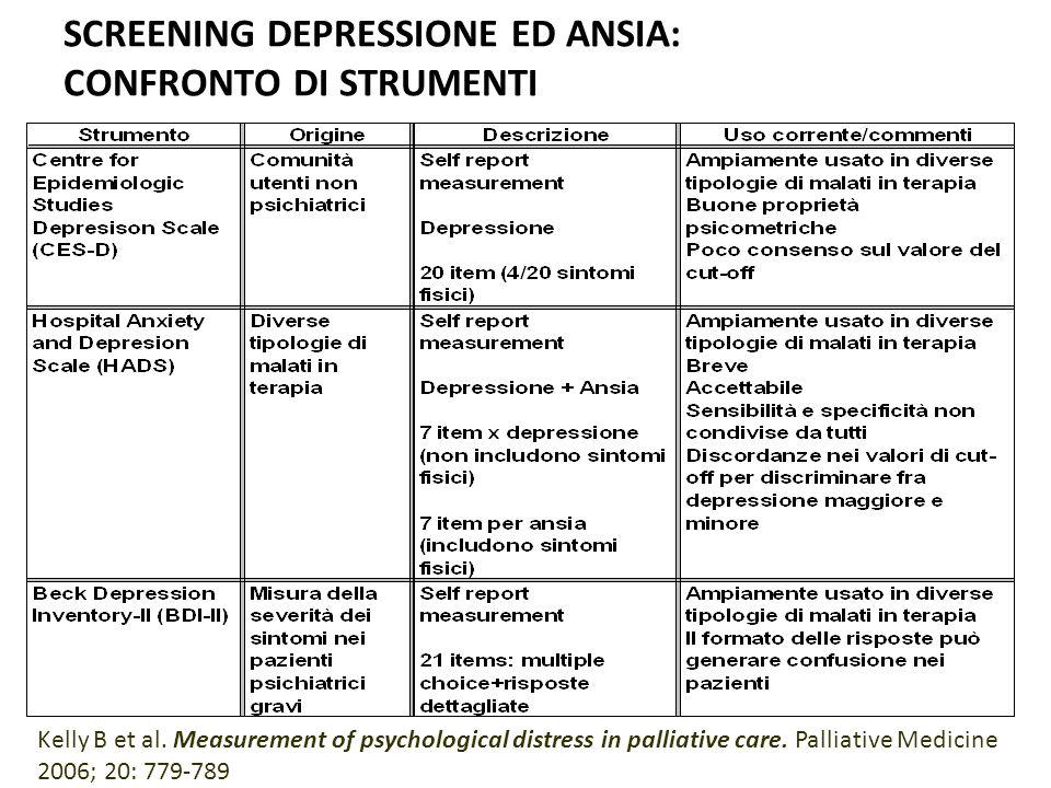 SCREENING DEPRESSIONE ED ANSIA: CONFRONTO DI STRUMENTI Kelly B et al. Measurement of psychological distress in palliative care. Palliative Medicine 20