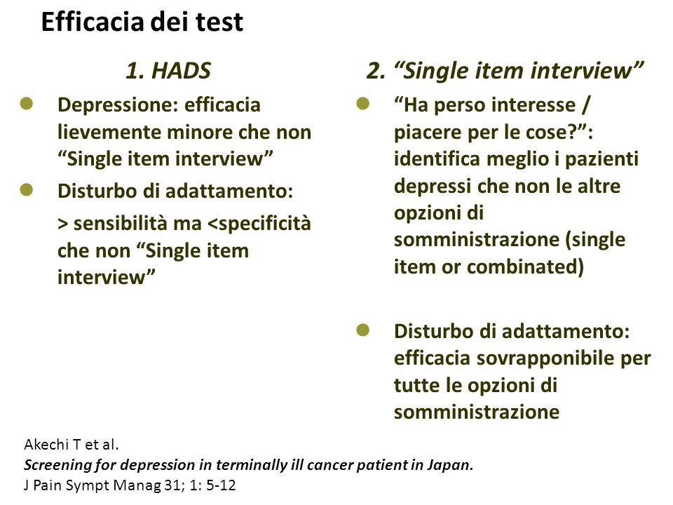"""Efficacia dei test 2. """"Single item interview"""" """"Ha perso interesse / piacere per le cose?"""": identifica meglio i pazienti depressi che non le altre opzi"""