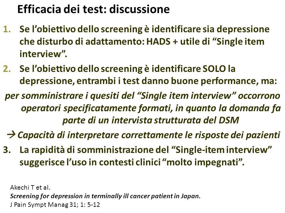 """Efficacia dei test: discussione 1.Se l'obiettivo dello screening è identificare sia depressione che disturbo di adattamento: HADS + utile di """"Single i"""