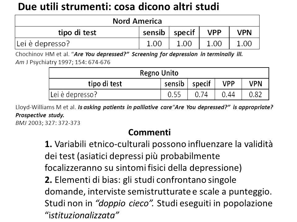 """Due utili strumenti: cosa dicono altri studi Chochinov HM et al. """"Are You depressed?"""" Screening for depression in terminally ill. Am J Psychiatry 1997"""