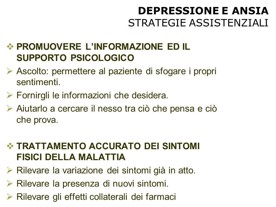 DEPRESSIONE E ANSIA STRATEGIE ASSISTENZIALI  PROMUOVERE L'INFORMAZIONE ED IL SUPPORTO PSICOLOGICO  Ascolto: permettere al paziente di sfogare i prop
