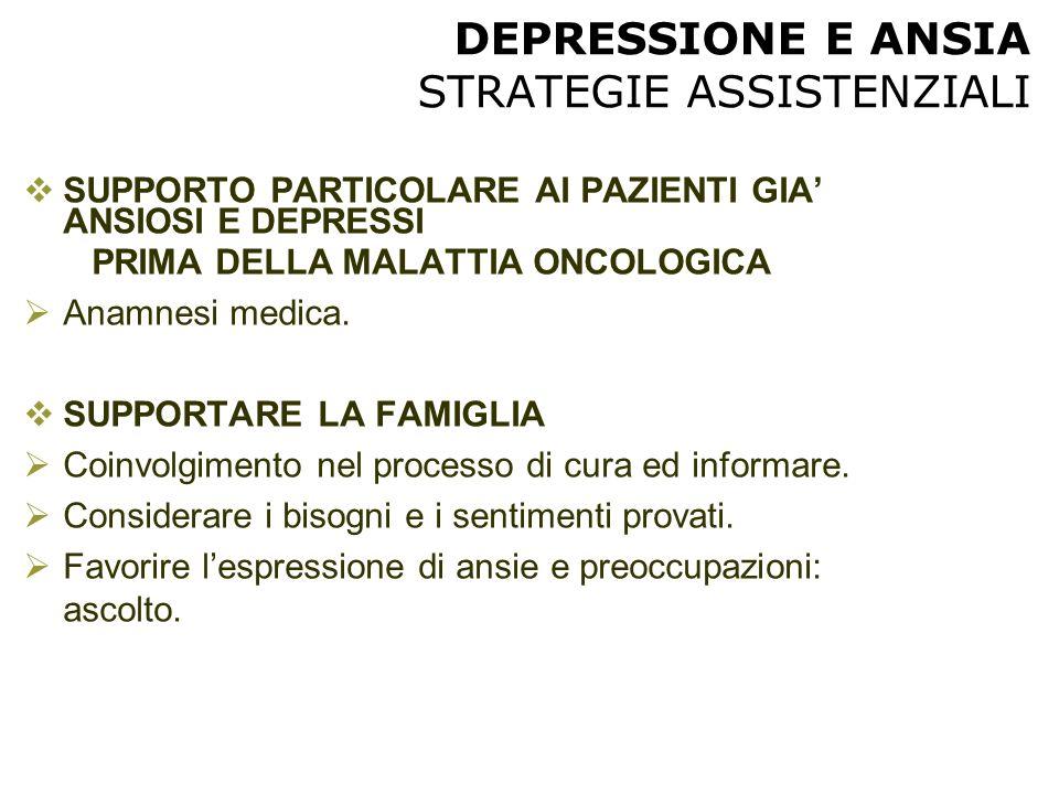 DEPRESSIONE E ANSIA STRATEGIE ASSISTENZIALI  SUPPORTO PARTICOLARE AI PAZIENTI GIA' ANSIOSI E DEPRESSI PRIMA DELLA MALATTIA ONCOLOGICA  Anamnesi medi