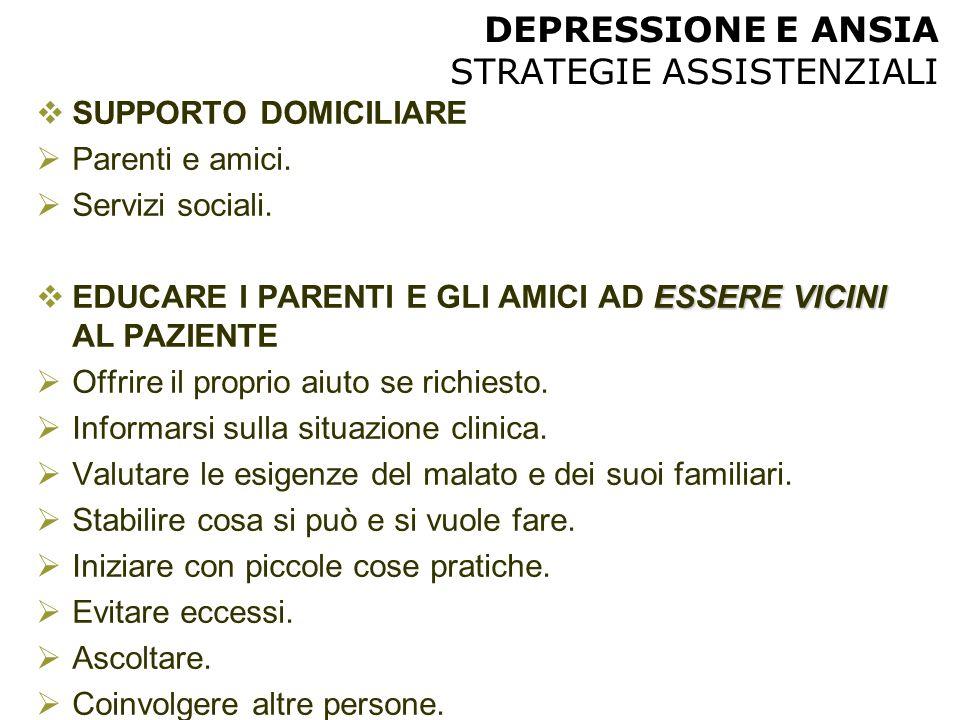 DEPRESSIONE E ANSIA STRATEGIE ASSISTENZIALI  SUPPORTO DOMICILIARE  Parenti e amici.  Servizi sociali. ESSERE VICINI  EDUCARE I PARENTI E GLI AMICI
