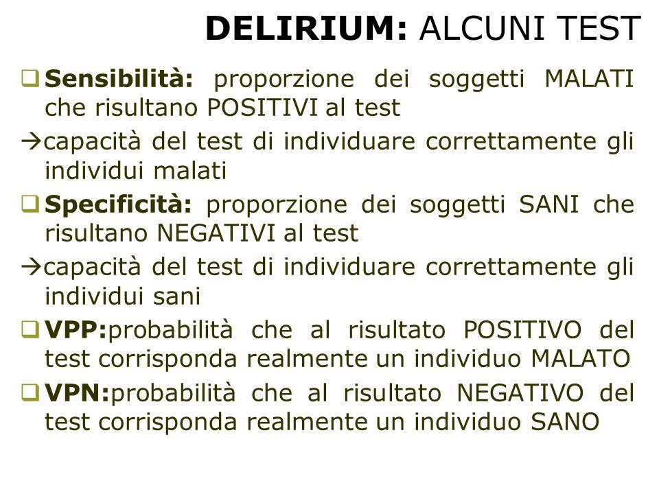 DELIRIUM: ALCUNI TEST  Sensibilità: proporzione dei soggetti MALATI che risultano POSITIVI al test  capacità del test di individuare correttamente g