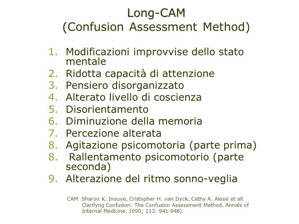 1.Modificazioni improvvise dello stato mentale 2.Ridotta capacità di attenzione 3.Pensiero disorganizzato 4.Alterato livello di coscienza 5.Disorienta