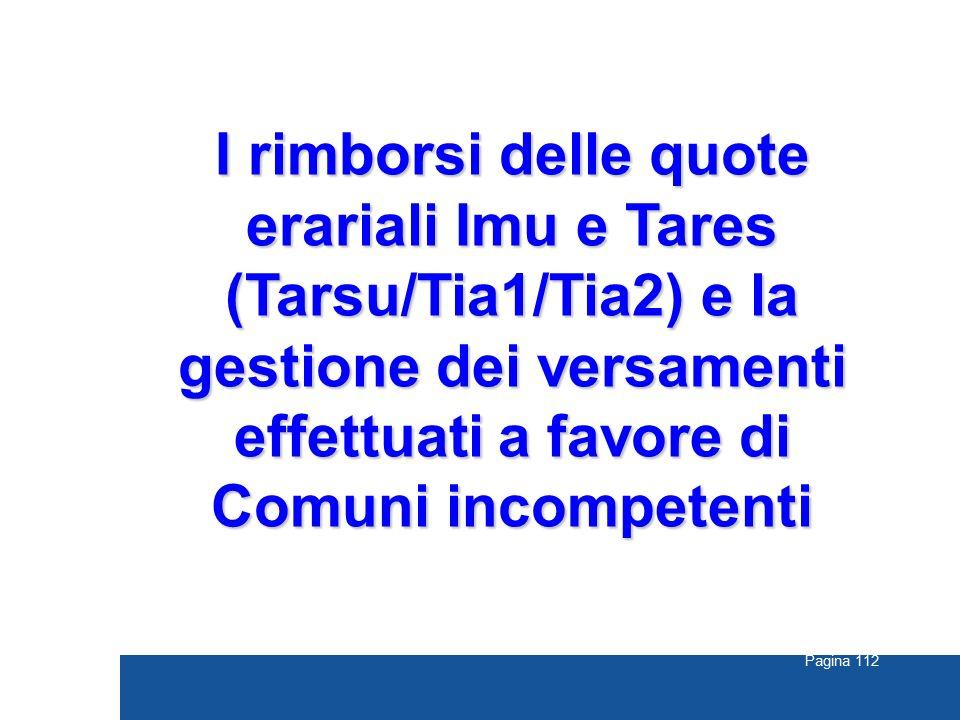 Pagina 112 I rimborsi delle quote erariali Imu e Tares (Tarsu/Tia1/Tia2) e la gestione dei versamenti effettuati a favore di Comuni incompetenti