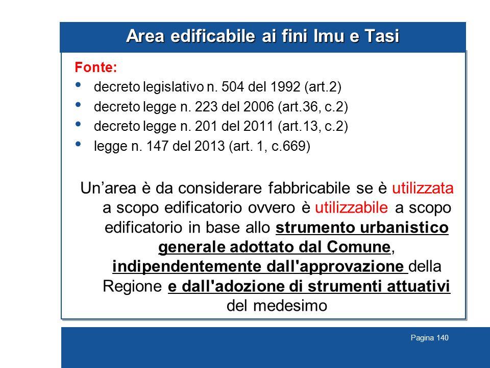 Pagina 140 Area edificabile ai fini Imu e Tasi Fonte: decreto legislativo n. 504 del 1992 (art.2) decreto legge n. 223 del 2006 (art.36, c.2) decreto